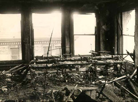 Remains of the ninth floor after the fire. Windows shown where many workers jumped to their deaths