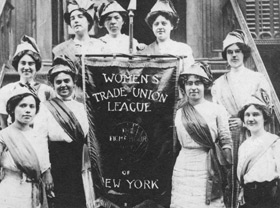 Members of the Women's Trade Union League proudly display their banner