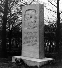 Monument in Evergreen Cemetery for the unidentified victims of the fire