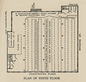 Diagram of the ninth floor
