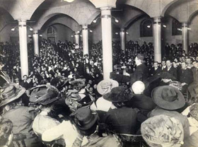Samuel Gompers speaks at the Copper Union meeting