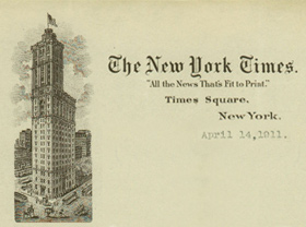 New York Times letterhead dated April 14, 1911