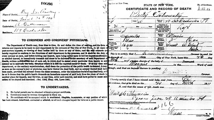 Beckie Ostrovsky  death certificate