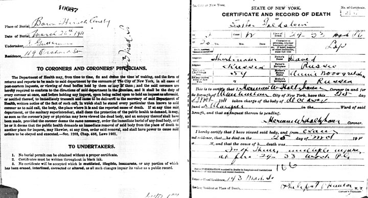 Esther Goldstein death certificate