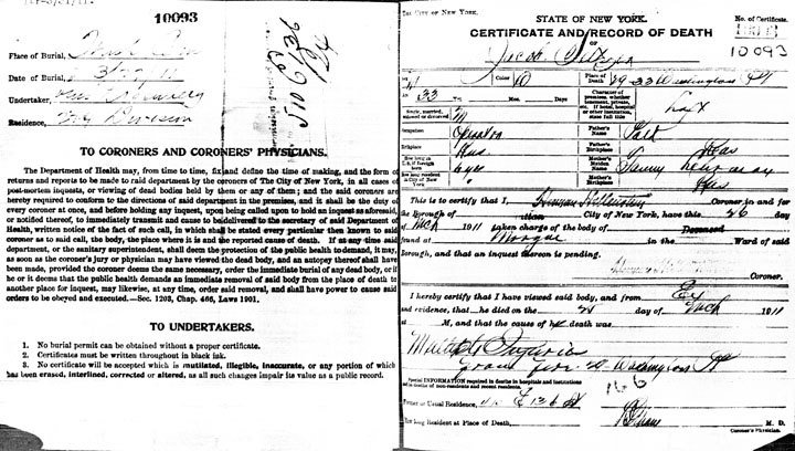 Jacob Seltzer death certificate