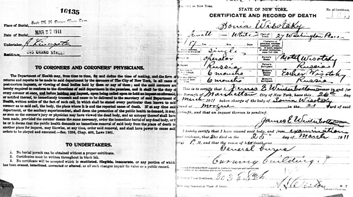 Sonia Wisotsky death certificate