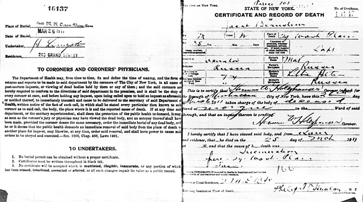Jacob Bernstein death certificate