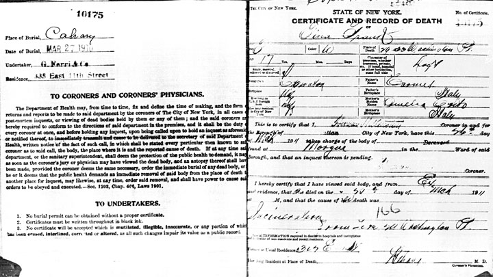 Jennie Franco death certificate