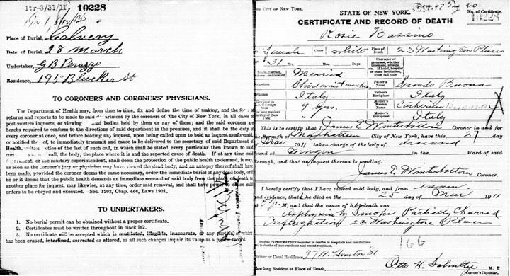 Rose Bassino death certificate