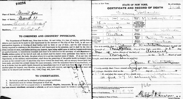Fannie Hollander death certificate