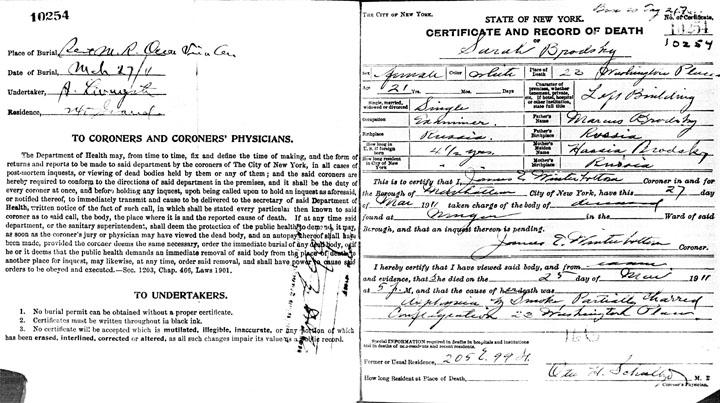 Sarah Brodsky death certificate