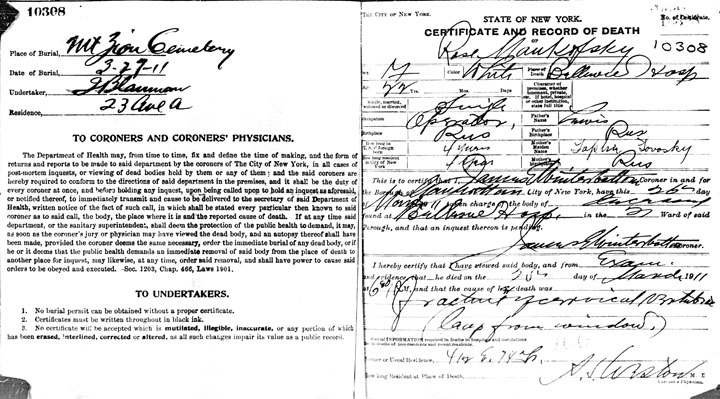 Rose Mankofsky death certificate