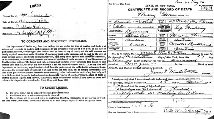 Mary Herman death certificate