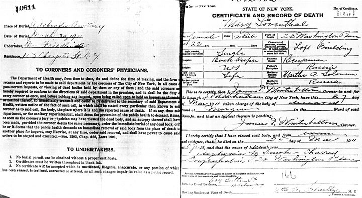 Mary Leventhal death certificate