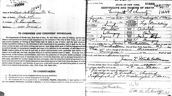 Margaret Schwartz death certificate
