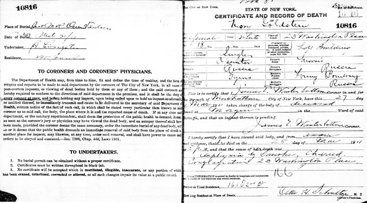 Mary Goldstein death certificate