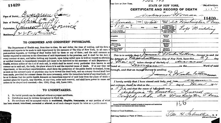 Maria Giuseppa Lauletta death certificate