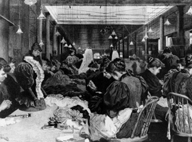 Illustration of a typical dressmaking shop in the early 1900's