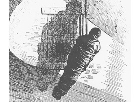 Illustration of a body being lowered from one of the top floors of the Asch Building