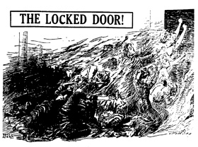 The Locked Door, illustration of women trapped at the locked door on the ninth floor with fire beginning to consume them