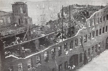 Remains of Newark factory after fire destroyed the building and killed twenty-five workers