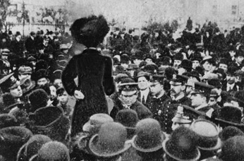 A mass meeting of shirtwaist strikers and their supporters at Rutgers Square, December 4, 1909