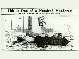 Political cartoon depicting a victim of the fire and a question asking is anyone to be punished for this?